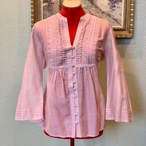 Kenar pink long bell sleeved silk blend top sz M